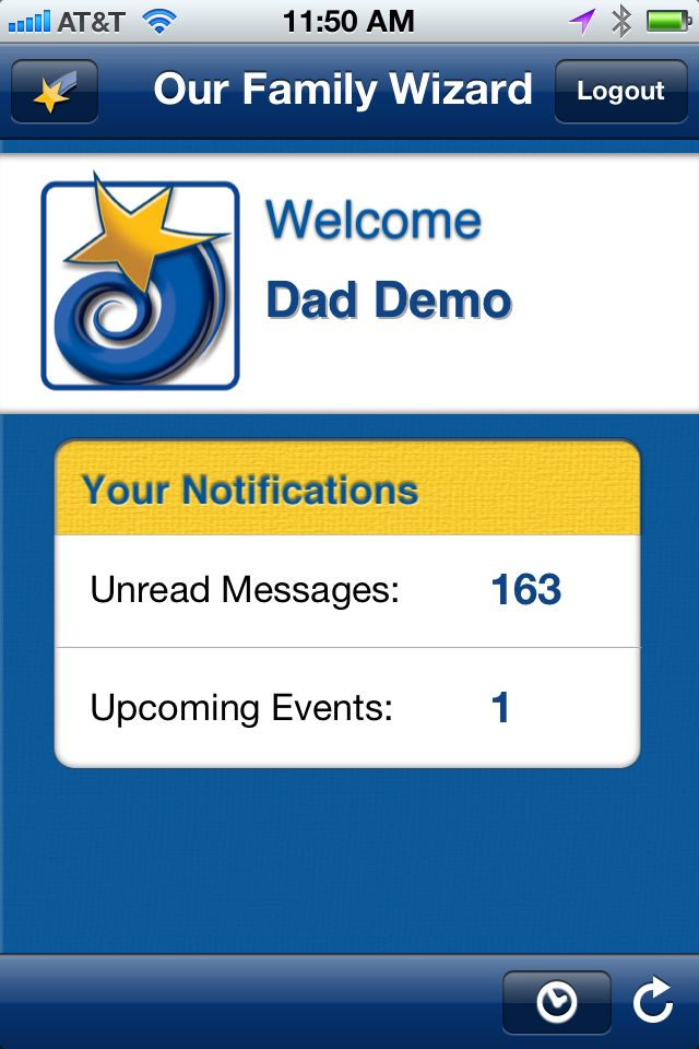 welcome to the our family wizard iphone app