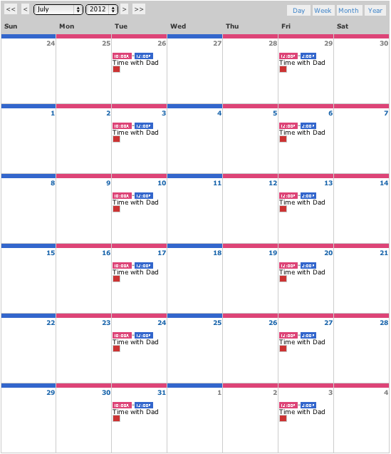 Parenting calendar template for Co parenting calendar template