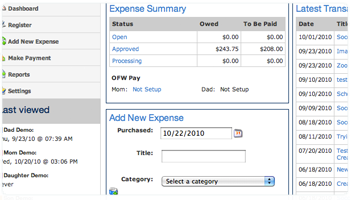 Track shared custody expenses like un-reimbursed medical, even make documented payments through OFWpay.