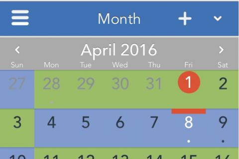 Mobile view of a parenting schedule alternating weeks