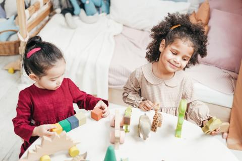 Two girls play with blocks together at a table.
