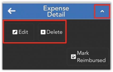 When viewing an expense, tap the caret in the top right corner to see the options to update or remove the expense.