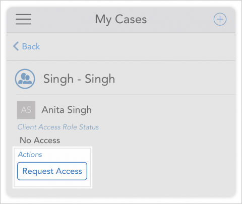 Once you have access to one parent in a family, quickly request access to the other parent by tapping request access under their name in my cases.