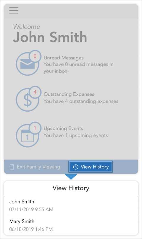 Tap view history in the blue bar at the bottom of the screen in client view mode to see the last time the section was viewed by both parents.