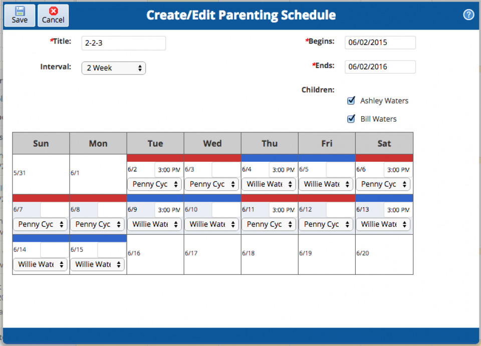 parenting schedules ourfamilywizard