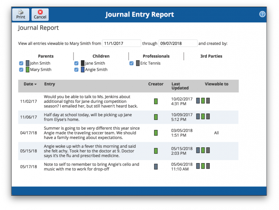 View of journal report tool available on the OFW website.