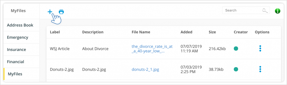 Uploading Documents to MyFiles