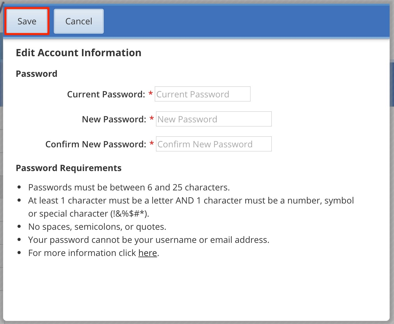 Updating your username or password our family wizard once complete click save and your new password will be implemented click here for some tips on how to create a more secure password buycottarizona Choice Image